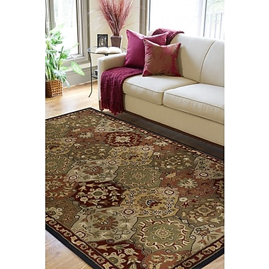 World Menagerie Topaz Red/Olive Area Rug; 5' x 8'