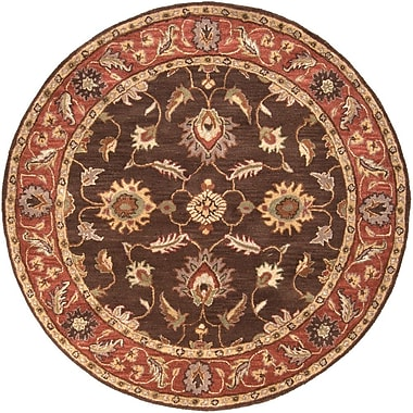 Charlton Home Keefer Chocolate/Tan Area Rug; Round 6'
