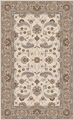 Charlton Home Keefer Antique White Floral Area Rug; Round 8'