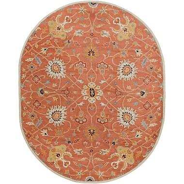 World Menagerie Topaz Butter Peanut Floral Area Rug; Oval 8' x 10'