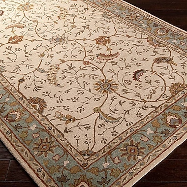 Charlton Home Keefer Olive Gray Floral Area Rug; 9' x 12'