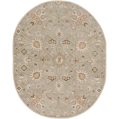 World Menagerie Topaz Pigeon Gray/Beige Floral Area Rug; Round 9'9''