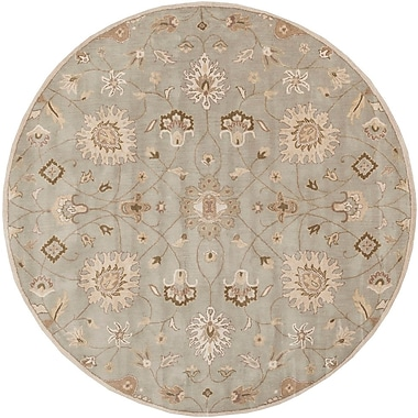 World Menagerie Topaz Pigeon Gray/Beige Floral Area Rug; Round 8'
