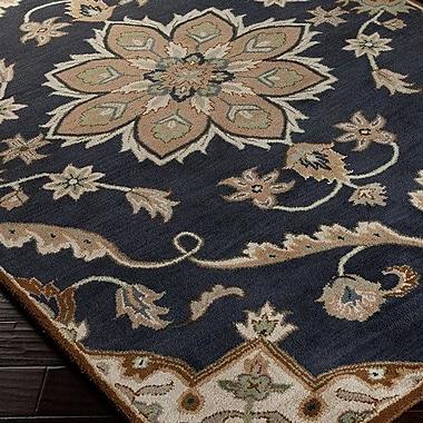 World Menagerie Topaz Midnight Blue/Beige Floral Area Rug; 6' x 9'