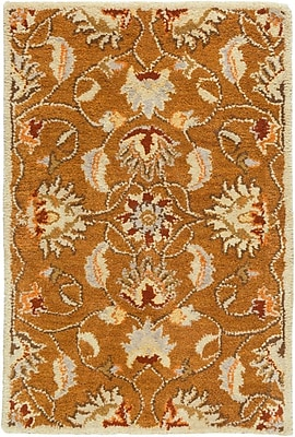 Charlton Home Keefer Butter Peanut Floral Area Rug; Oval 6' x 9'