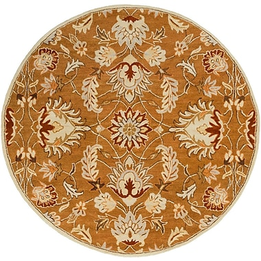 Charlton Home Keefer Butter Peanut Floral Area Rug; Round 6'