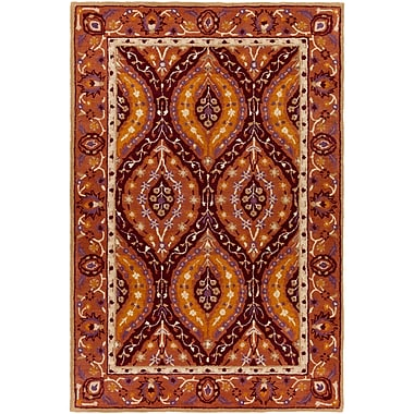 World Menagerie Benjamin Hand-Tufted Burgundy Area Rug; 5' x 7'6''