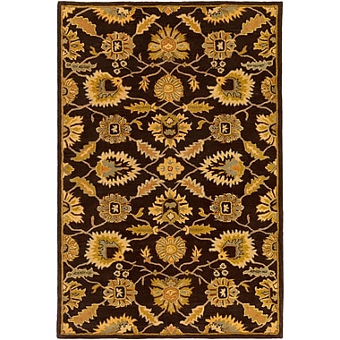 Charlton Home Keefer Hand-Tufted Dark Brown Area Rug; Square 9'9''