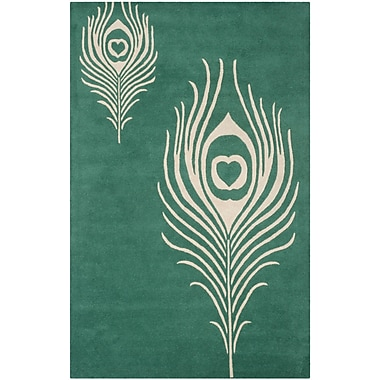 Bloomsbury Market Dorthy Teal / Ivory Contemporary Rug; 5' x 8'