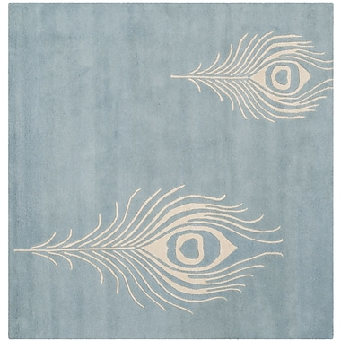 Bloomsbury Market Dorthy Light Blue / Ivory Contemporary Rug; Square 6'