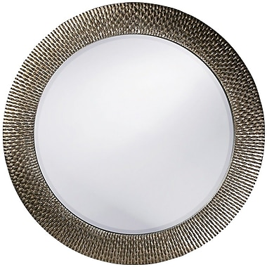 World Menagerie Hengelo Wall Mirror; Brushed Silver Leaf with Black Accents