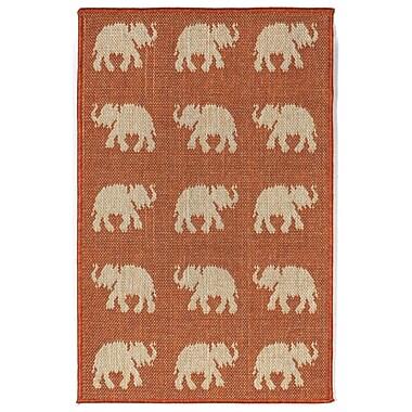 World Menagerie Slimane Elephants Indoor/Outdoor Rug; 1'11'' x 2'11''