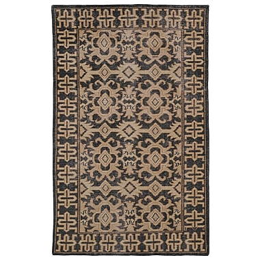 World Menagerie Deol Black/Beige Area Rug; 8' x 10'