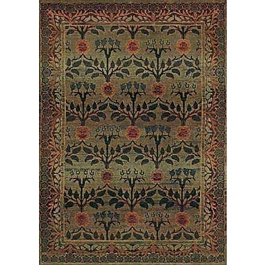 Bloomsbury Market Rosabel Floral Green/Brown Area Rug; Round 6'