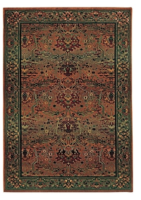 Bloomsbury Market Rosabel Traditional Rust Red/Green Area Rug; Round 6'