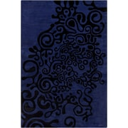 Bloomsbury Market Energizer Hand Tufted Wool Violet Blue/Black Area Rug; 8' x 10' by