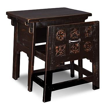World Menagerie Nikolai Writing Desk and Chair Set; Antique Black