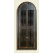 World Menagerie Arched Antique Black Shutter Mirror