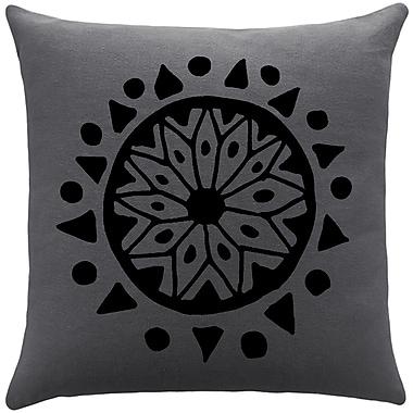 Brayden Studio Alcantar Bohemian Cotton Throw Pillow; Gunmetal Grey / Black