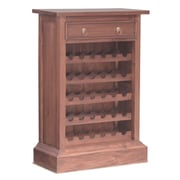 NES Furniture Georgianna Fine Handcrafted Solid Mahogany Wood 30 Bottle Floor Wine Cabinet; Pecan
