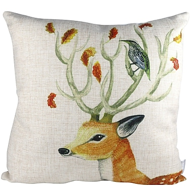 Pal Fabric Nature Animal Deer and Bird Throw Pillow