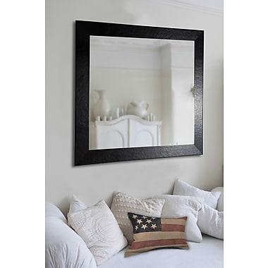 Brayden Studio Rectangle Black Wide Leather Wall Mirror; 46'' H x 40'' W x 0.75'' D