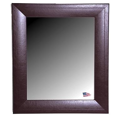 Darby Home Co Dark Brown Leather Wall Mirror; 45.75'' H x 39.75'' W x 0.75'' D