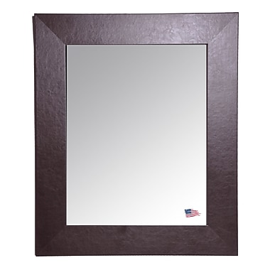 Darby Home Co Espresso Wide Leather Wall Mirror; 39'' H x 33'' W x 0.75'' D