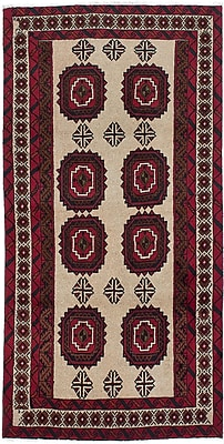 ECARPETGALLERY Finest Baluch Wool Hand-Knotted Ivory Area Rug