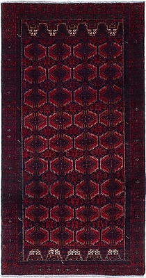 ECARPETGALLERY Finest Baluch Wool Hand-Knotted Dark Navy/Red Area Rug