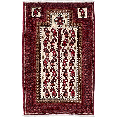 ECARPETGALLERY Finest Baluch Wool Hand-Knotted Cream/Red Area Rug