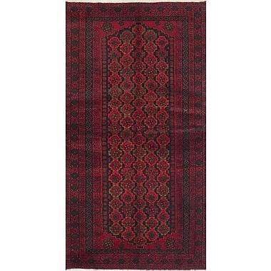 ECARPETGALLERY Finest Baluch Wool Hand-Knotted Dark Red Area Rug