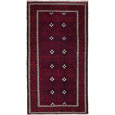 ECARPETGALLERY Finest Baluch Wool Hand-Knotted Dark Navy/Red Rug