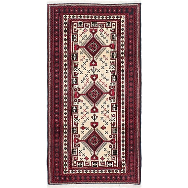 ECARPETGALLERY Finest Baluch Hand-Knotted Cream/Red Area Rug