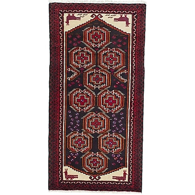 ECARPETGALLERY Finest Baluch Wool Hand-Knotted Gray/Red Area Rug
