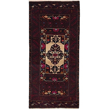 ECARPETGALLERY Finest Baluch Wool Hand-Knotted Dark Red Area Rug