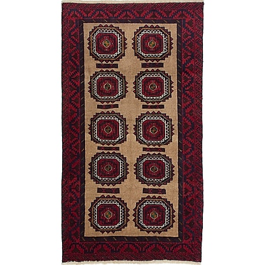 ECARPETGALLERY Finest Baluch Wool Hand-Knotted Beige/Red Area Rug