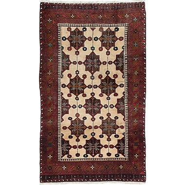 ECARPETGALLERY Finest Baluch Wool Hand-Knotted Cream Area Rug