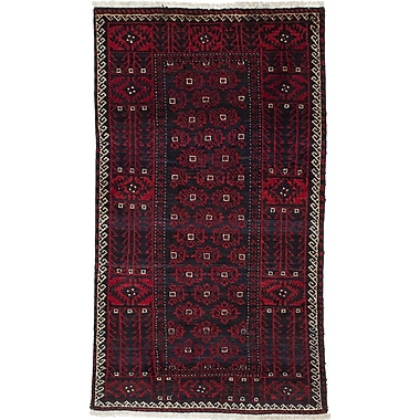 ECARPETGALLERY Finest Baluch Wool Hand-Knotted Red Area Rug