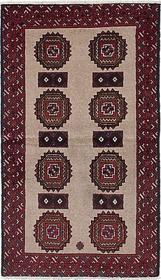 ECARPETGALLERY Finest Baluch Wool Hand-Knotted Light Brown/Red Area Rug