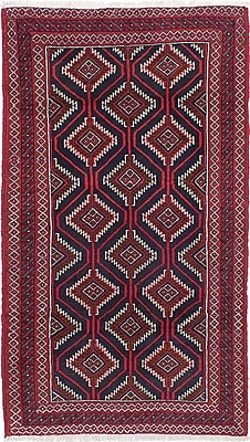 ECARPETGALLERY Finest Baluch Wool Hand-Knotted Dark Navy/Red Area Rug