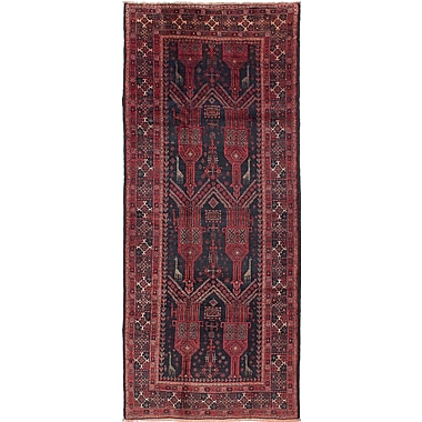 ECARPETGALLERY Finest Baluch Wool Hand-Knotted Black/Red Area Rug