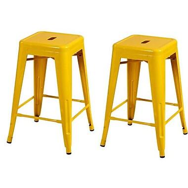 Homebeez 24'' Bar Stool (Set of 2); Yellow