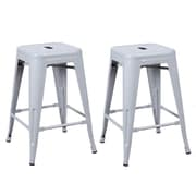 Homebeez 24'' Bar Stool (Set of 2); Silver Gray