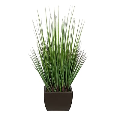 House of Silk Flowers Artificial 27'' Foliage Grass in Decorative Vase; Matte Brown