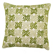 Arcadia Home Design Inc. Embroidered Silk Throw Pillow Cover; Green