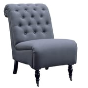 Linon Cora Roll Back Tufted Side Chair; Charcoal /  Silver
