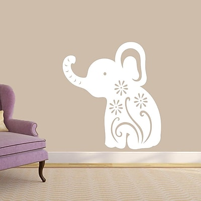 SweetumsWallDecals Floral Elephant Wall Decal; White