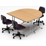 Team Tables Meeting Seminar 2 Piece Combo 5  Half-Round Conference Table; Natural Beech