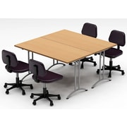 Team Tables Meeting Seminar 2 Piece Combo 5' Square Conference Table; Natural Beech